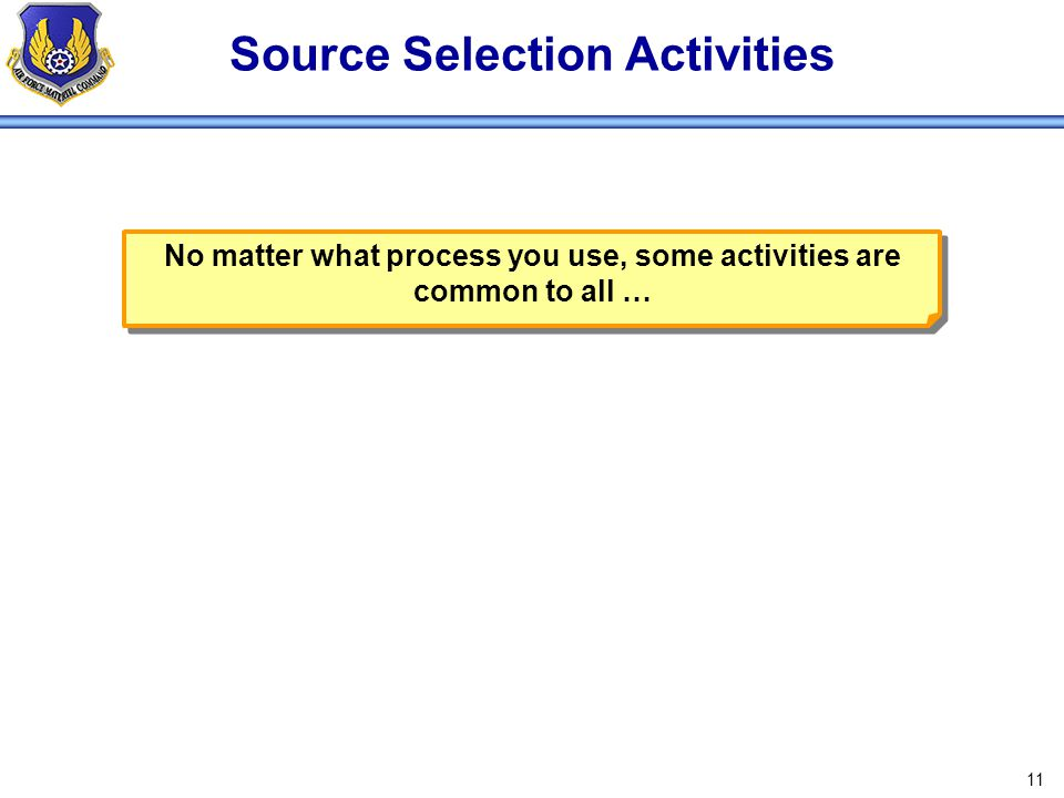 Source Selection Activities