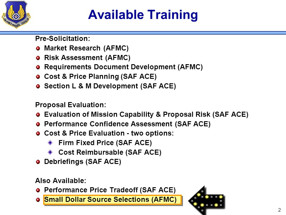 Available Training Pre-Solicitation: Market Research (AFMC)
