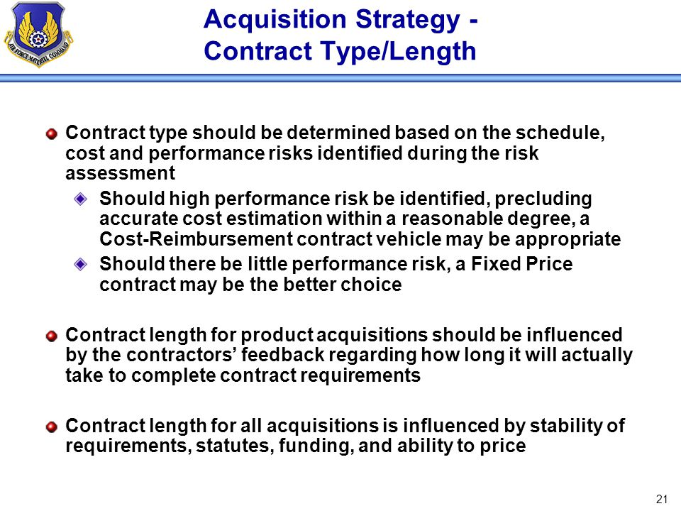 Acquisition Strategy - Contract Type/Length