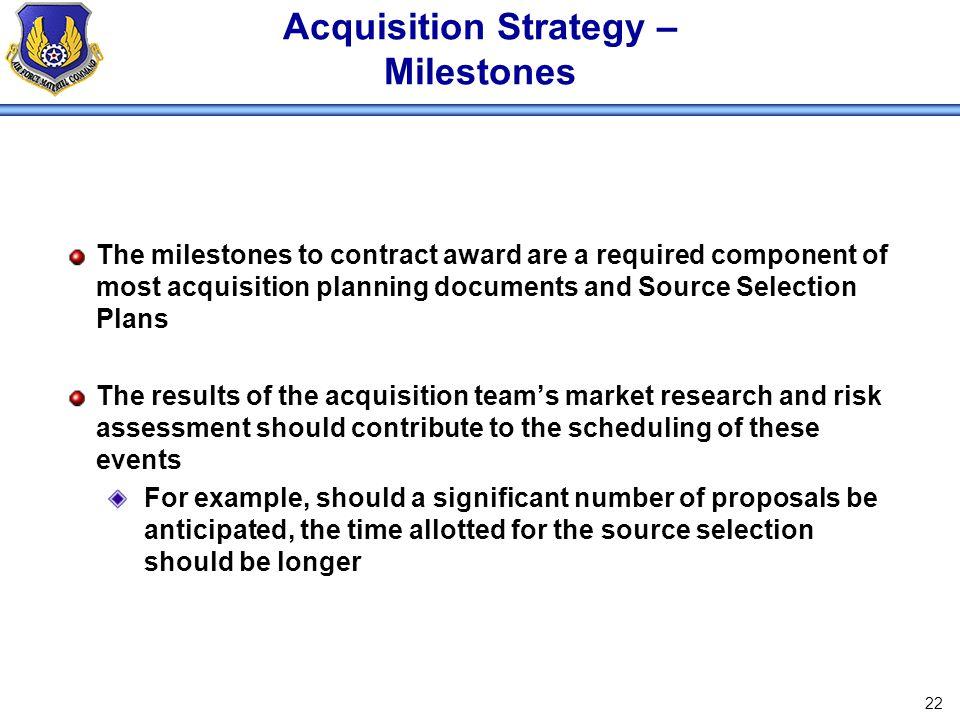 Acquisition Strategy – Milestones