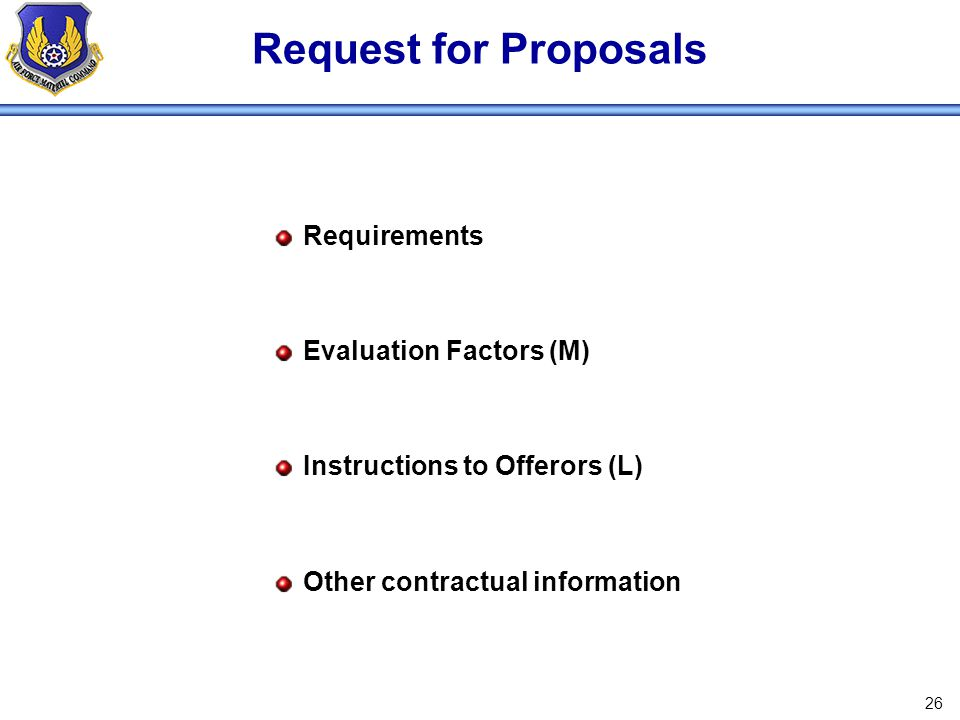 Request for Proposals Requirements Evaluation Factors (M)
