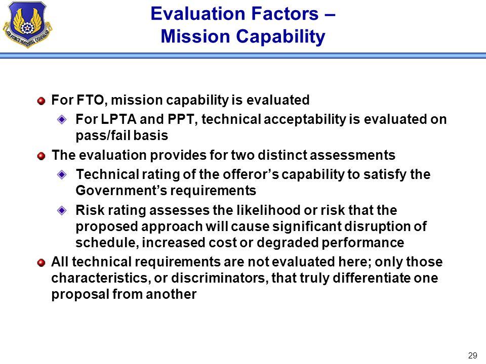 Evaluation Factors – Mission Capability