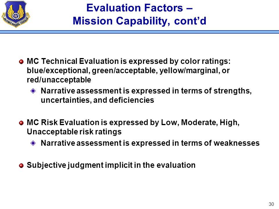 Evaluation Factors – Mission Capability, cont'd