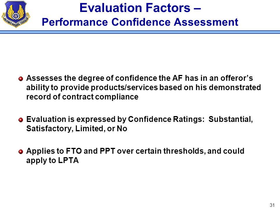 Evaluation Factors – Performance Confidence Assessment