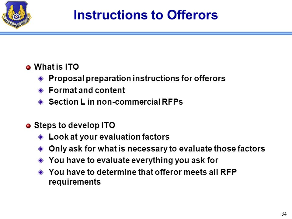 Instructions to Offerors