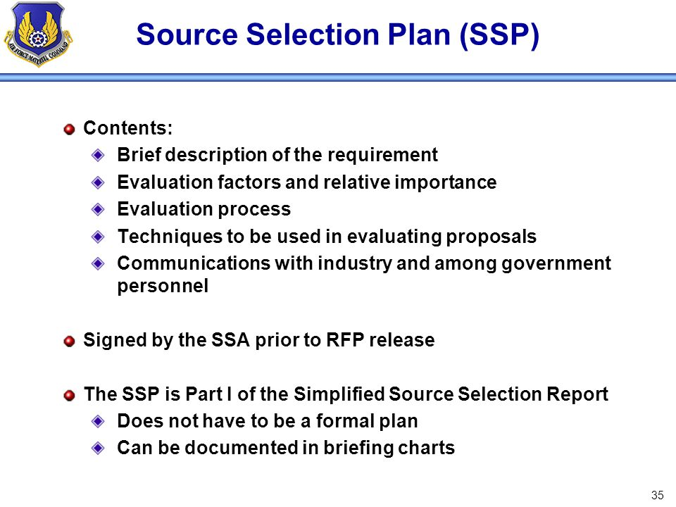Source Selection Plan (SSP)