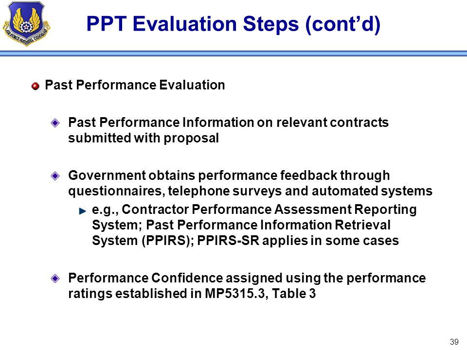 PPT Evaluation Steps (cont'd)