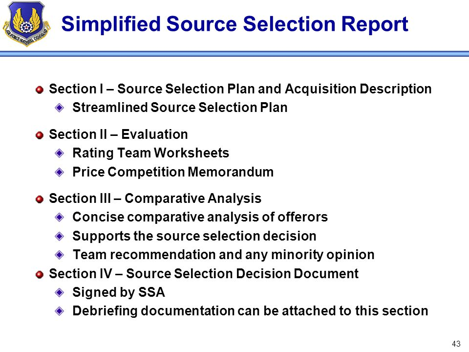 Simplified Source Selection Report