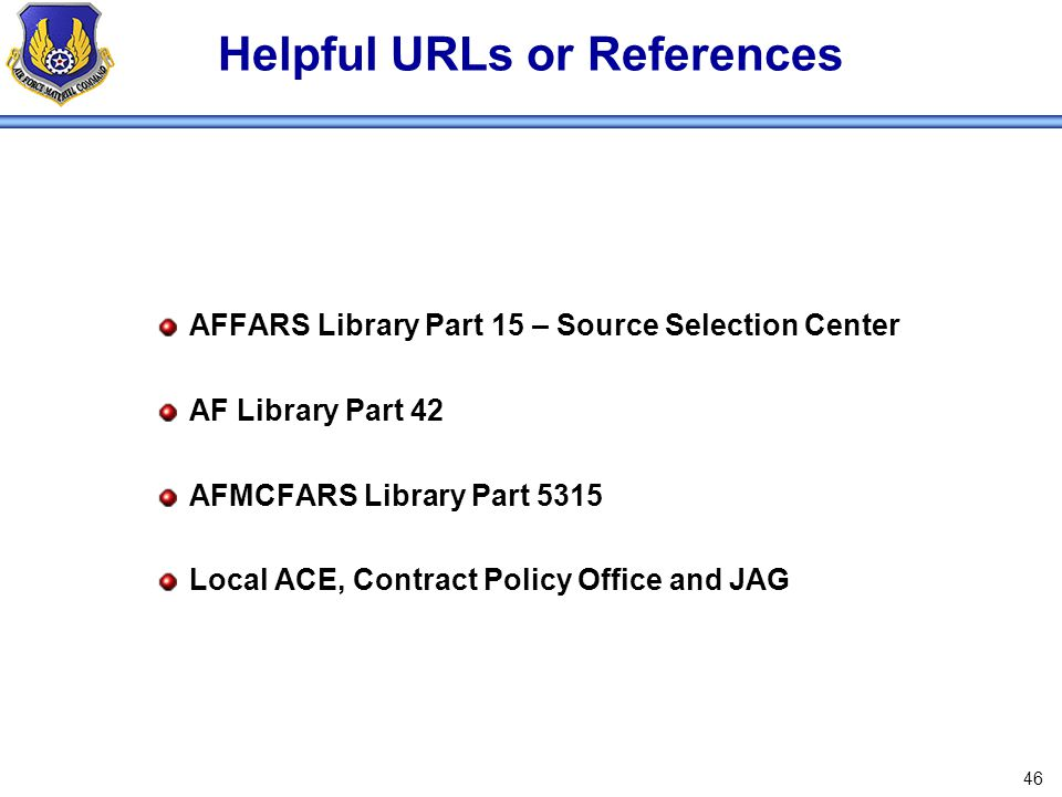 Helpful URLs or References