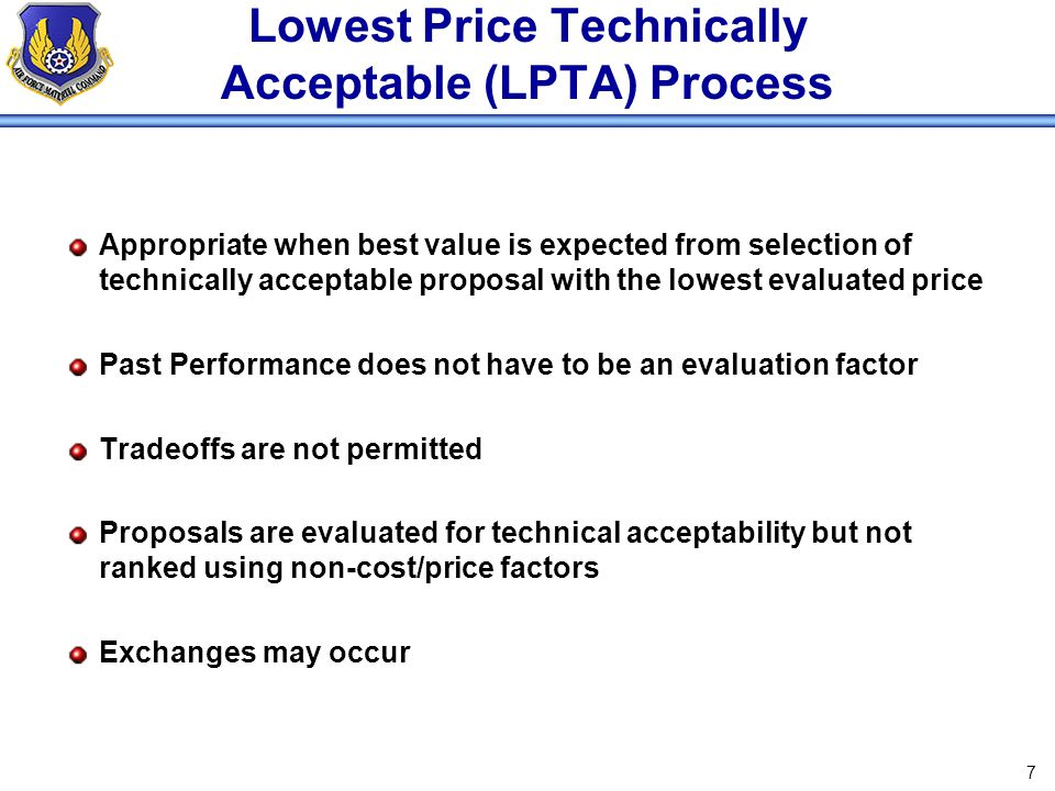 Lowest Price Technically Acceptable (LPTA) Process