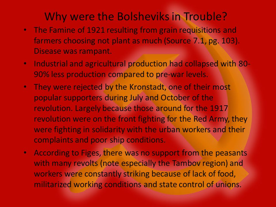 Why were the Bolsheviks in Trouble