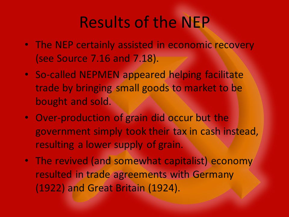 Results of the NEP The NEP certainly assisted in economic recovery (see Source 7.16 and 7.18).