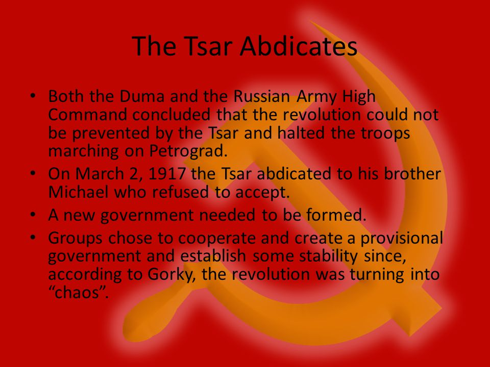 The Tsar Abdicates