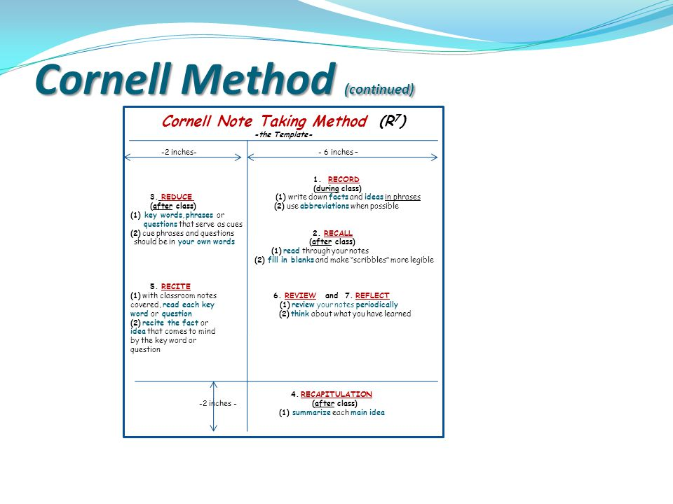 Cornell Method (continued)