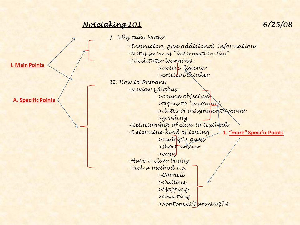 I. Why take Notes Notetaking 101 6/25/08 I. Main Points