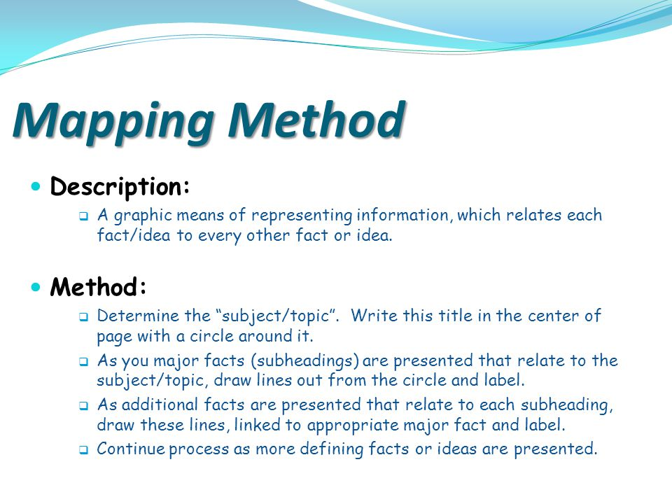 Mapping Method Description: Method: