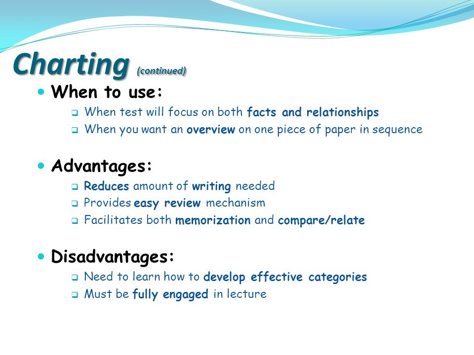 Charting (continued) When to use: Advantages: Disadvantages: