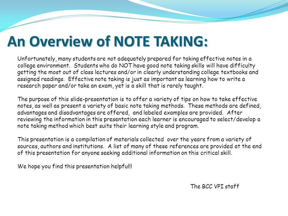 An Overview of NOTE TAKING: