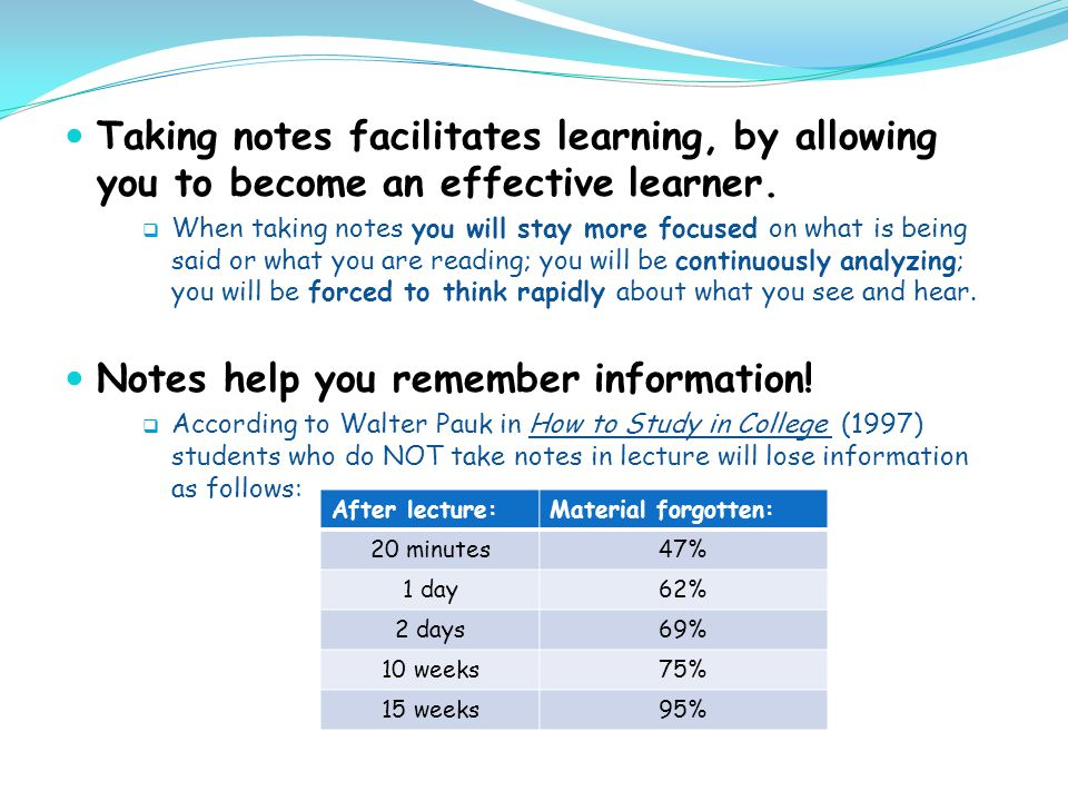 Notes help you remember information!