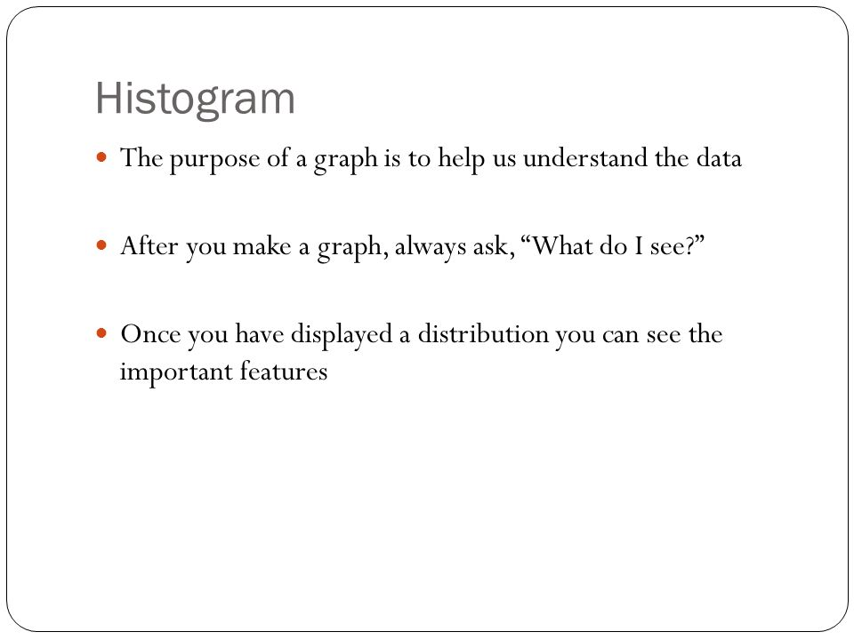 Histogram The purpose of a graph is to help us understand the data
