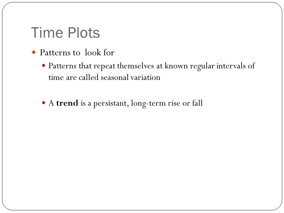 Time Plots Patterns to look for