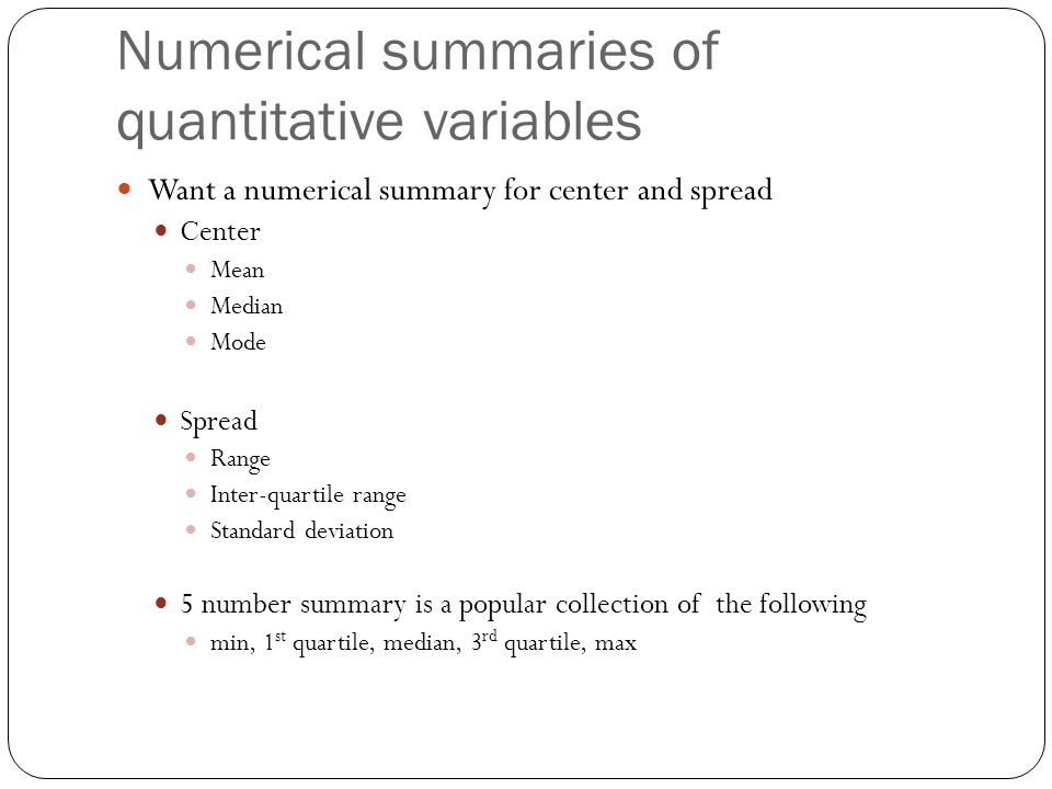 Numerical summaries of quantitative variables