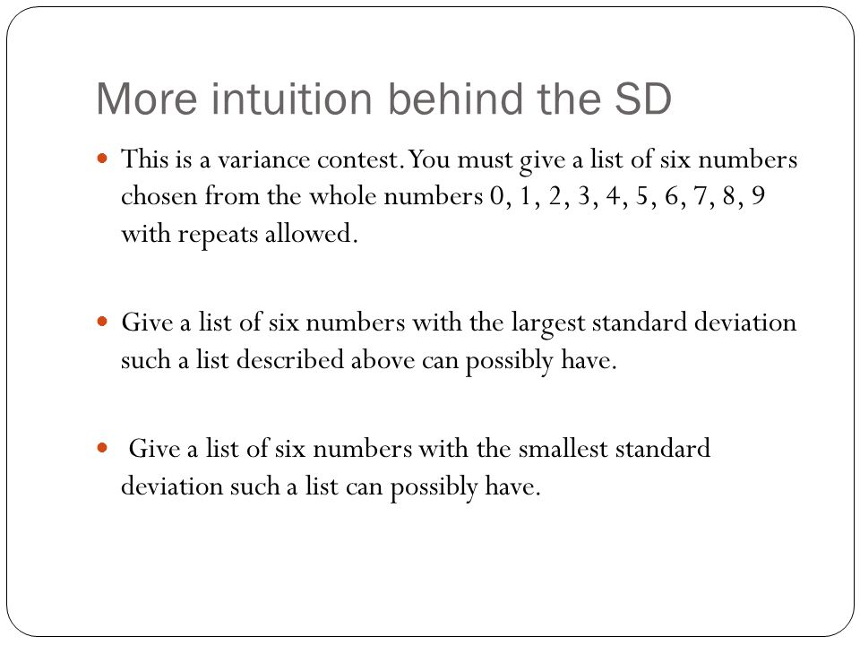 More intuition behind the SD