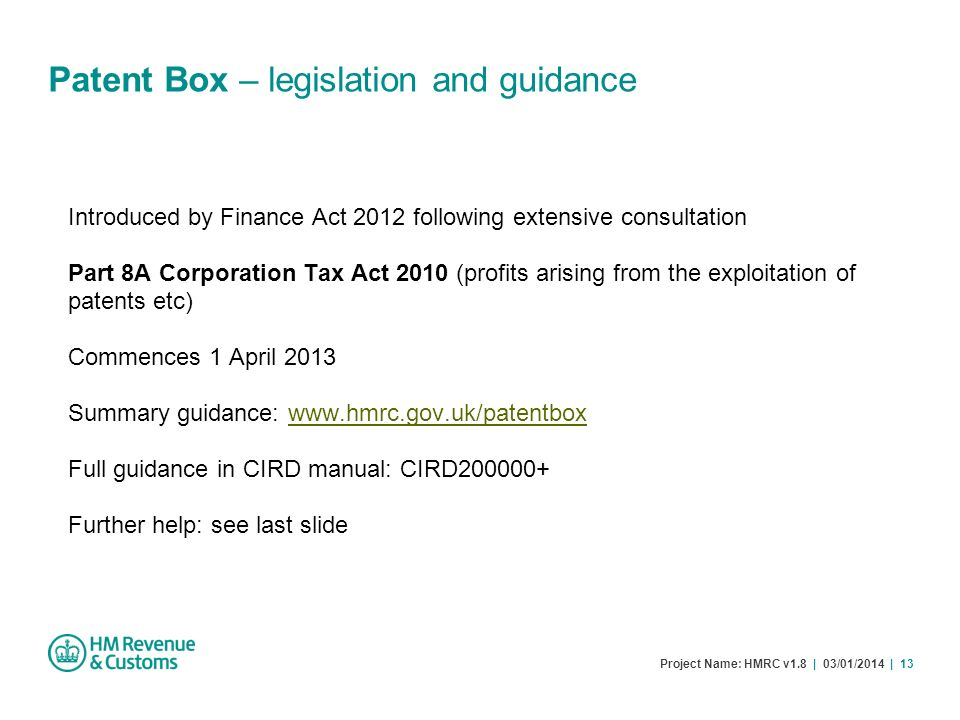 Patent Box – legislation and guidance
