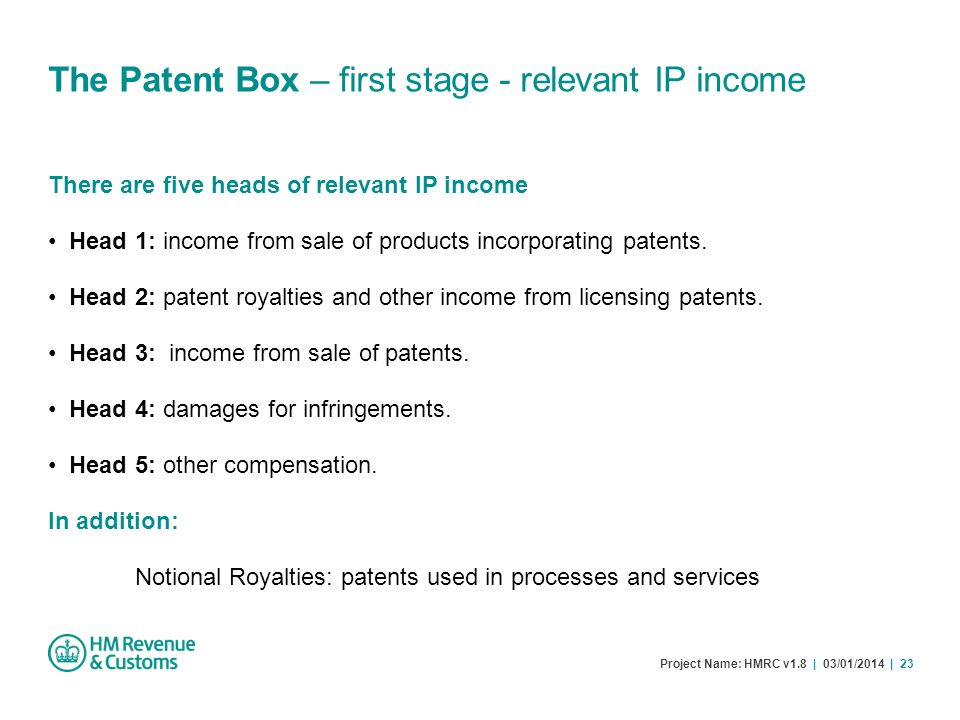 The Patent Box – first stage - relevant IP income