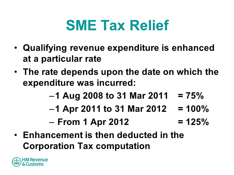 SME Tax Relief Qualifying revenue expenditure is enhanced at a particular rate.