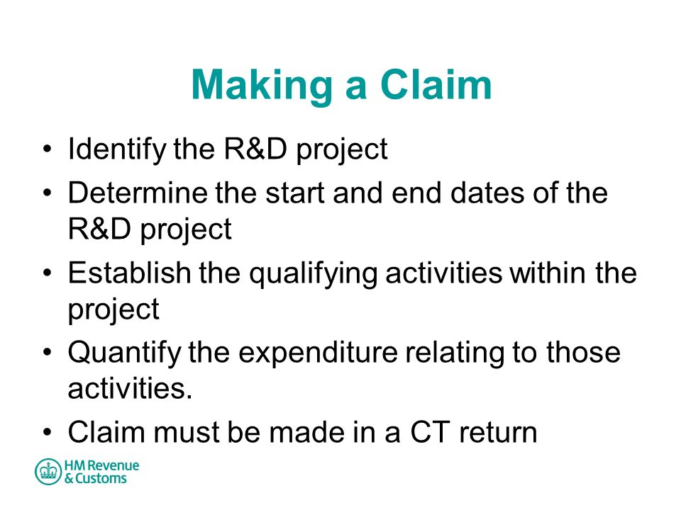 Making a Claim Identify the R&D project