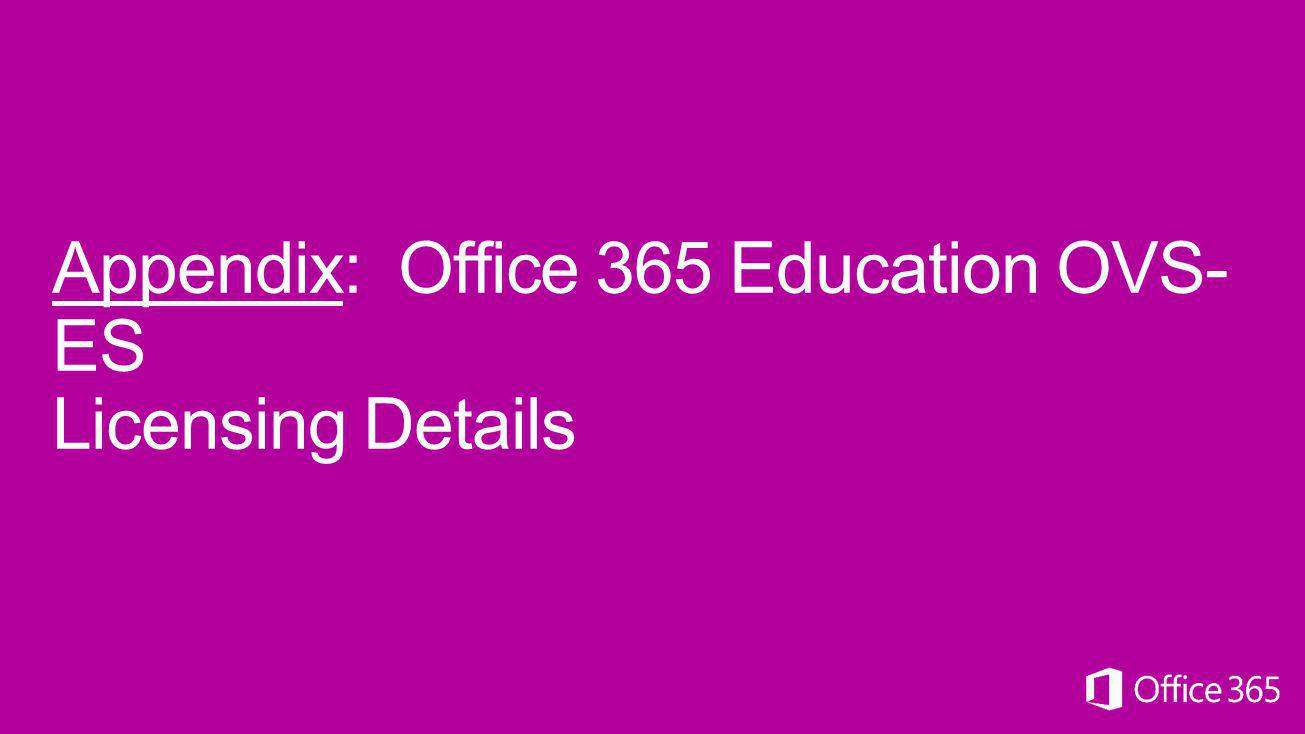 Appendix: Office 365 Education OVS-ES Licensing Details