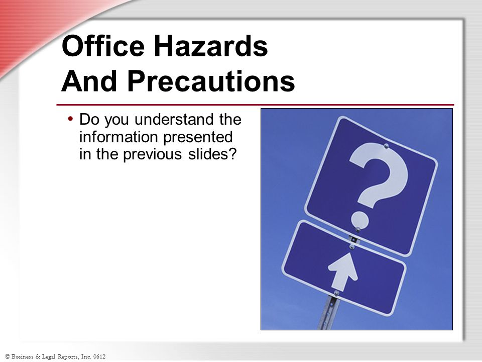 Office Hazards And Precautions