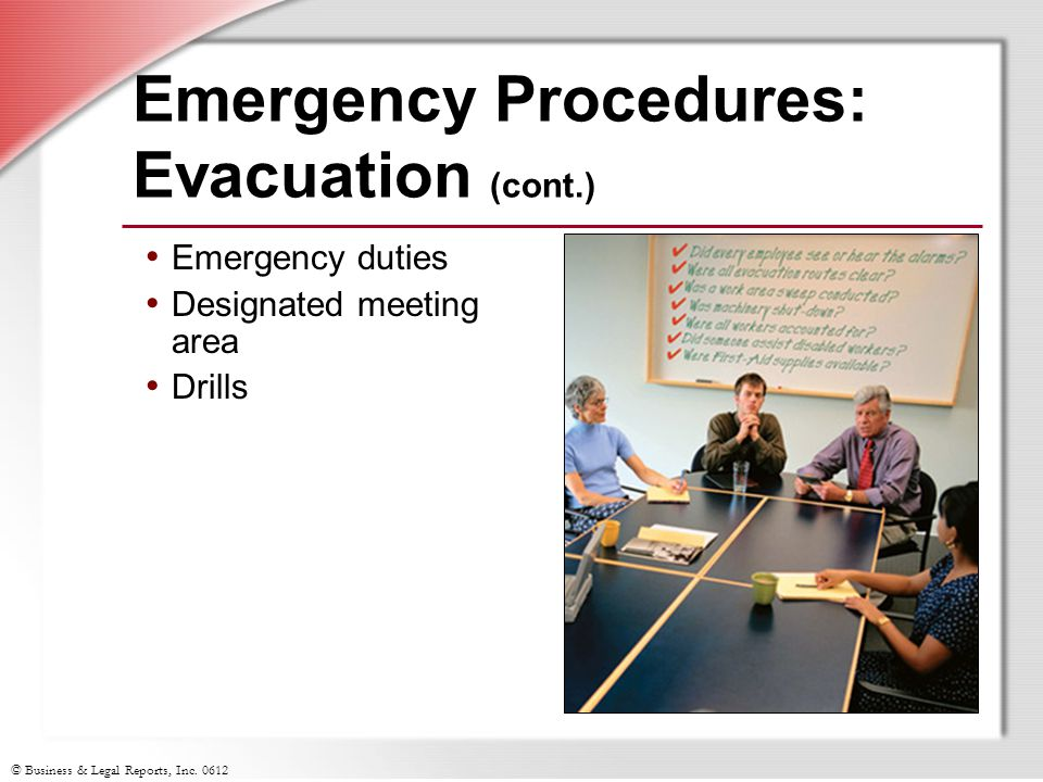 Emergency Procedures: Evacuation (cont.)