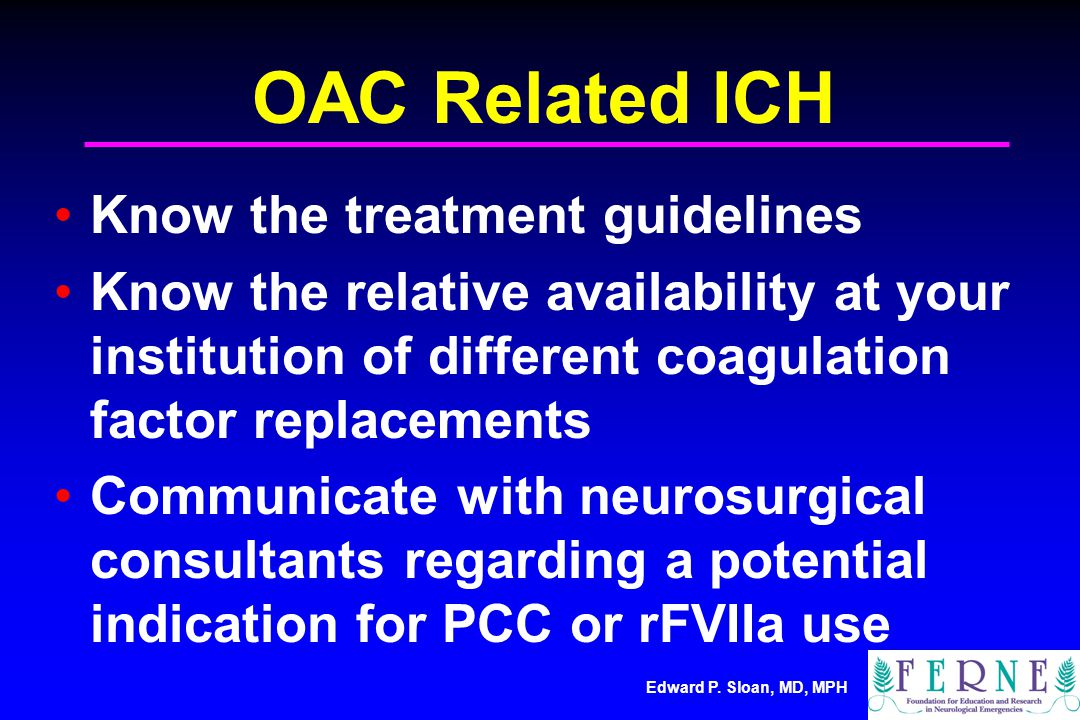 OAC Related ICH Know the treatment guidelines