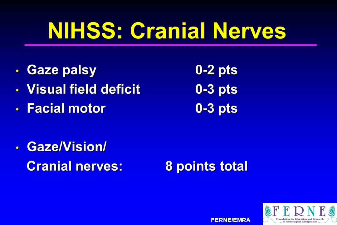 NIHSS: Cranial Nerves Gaze palsy 0-2 pts Visual field deficit 0-3 pts