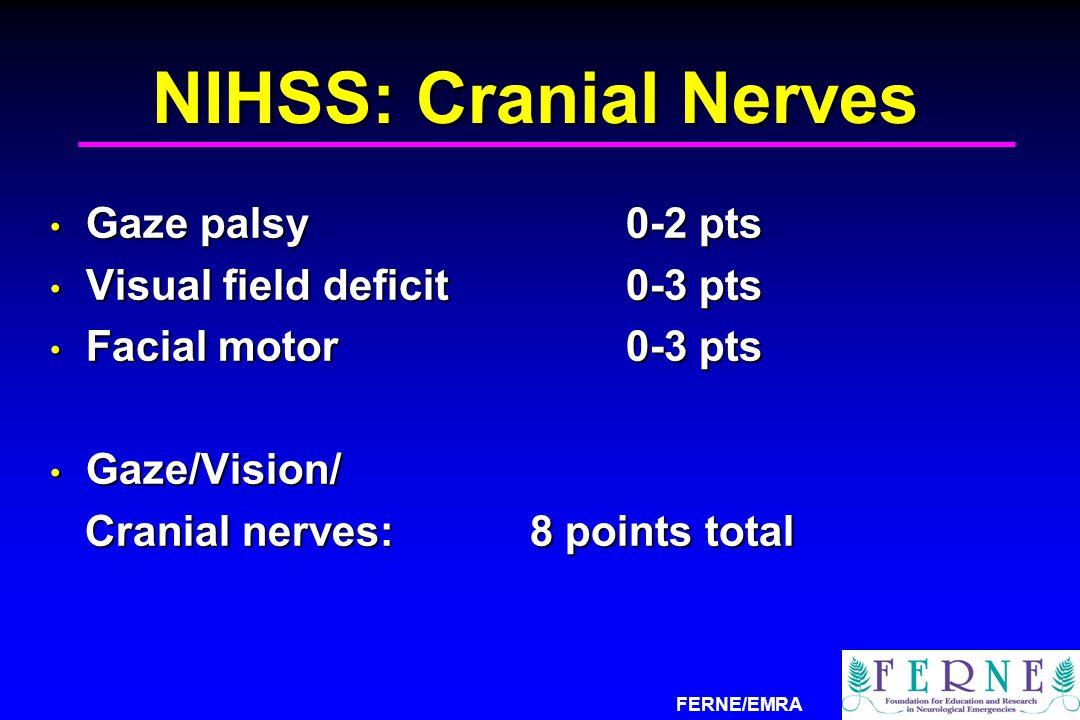 NIHSS: Cranial Nerves Gaze palsy 0-2 pts Visual field deficit 0-3 pts