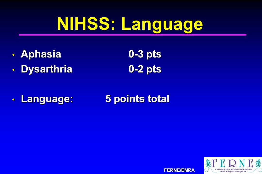 NIHSS: Language Aphasia 0-3 pts Dysarthria 0-2 pts
