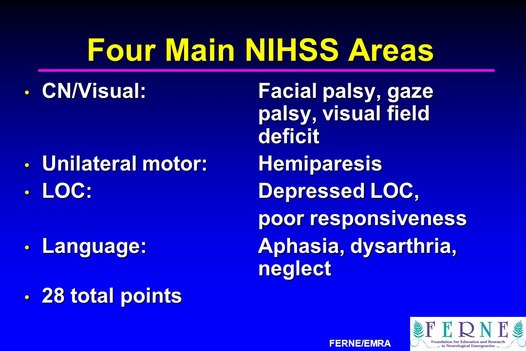 Four Main NIHSS Areas CN/Visual: Facial palsy, gaze palsy, visual field deficit. Unilateral motor: Hemiparesis.