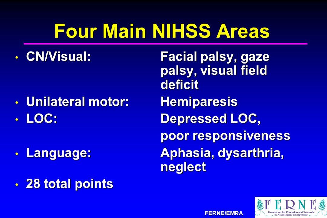 Four Main NIHSS Areas CN/Visual: Facial palsy, gaze palsy, visual field deficit. Unilateral motor: Hemiparesis.