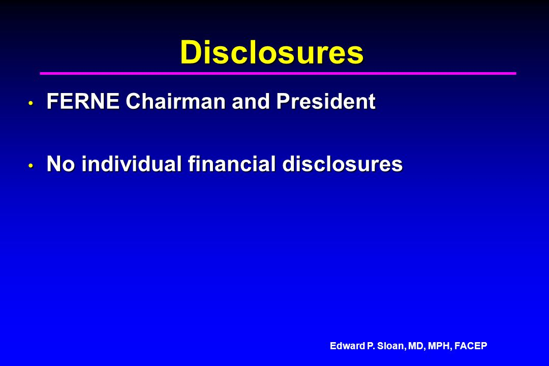 Disclosures FERNE Chairman and President