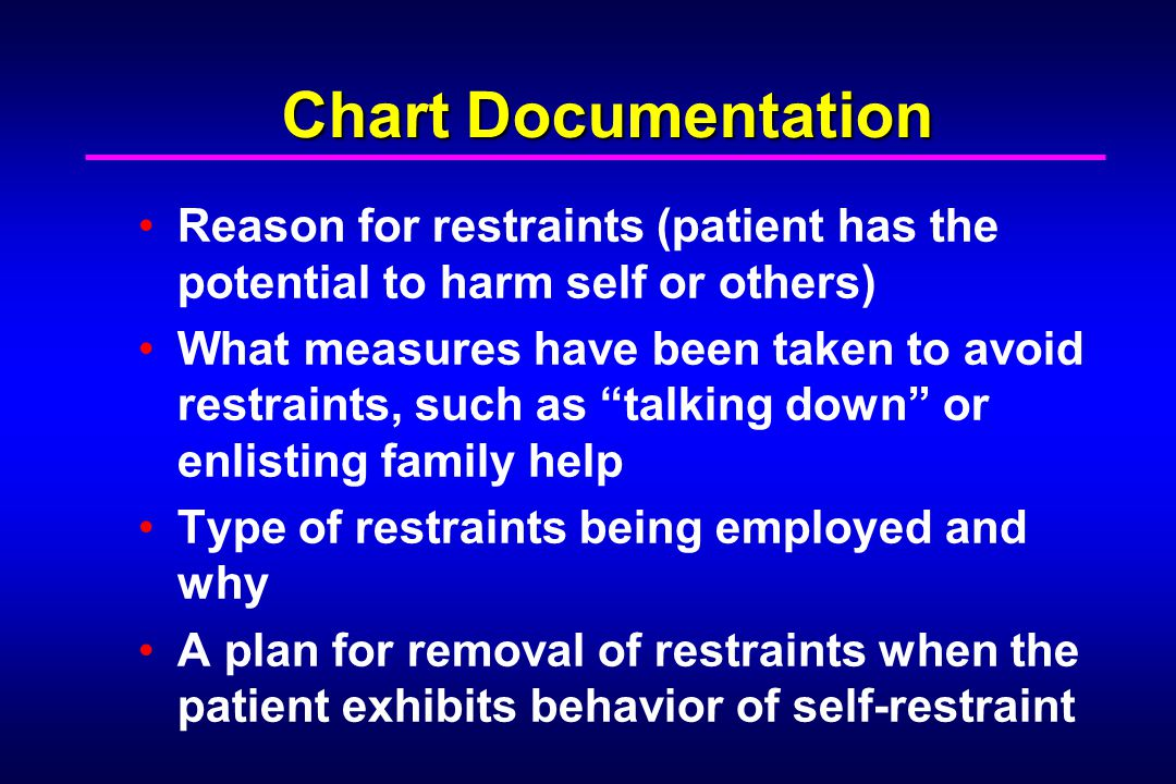 Chart Documentation Reason for restraints (patient has the potential to harm self or others)