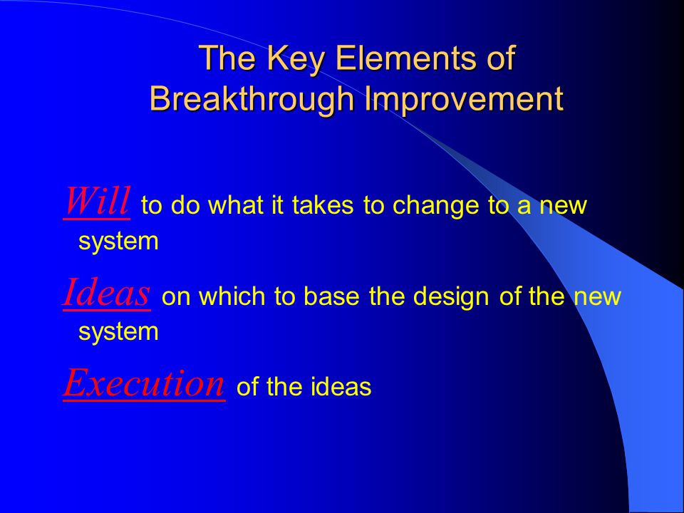 The Key Elements of Breakthrough Improvement