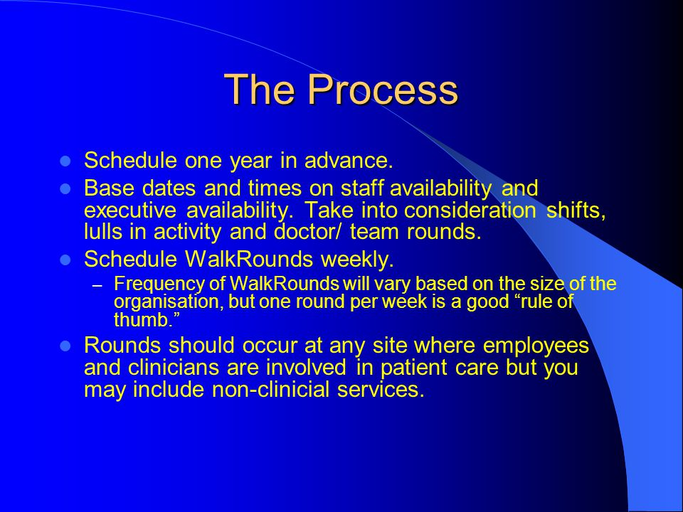The Process Schedule one year in advance.