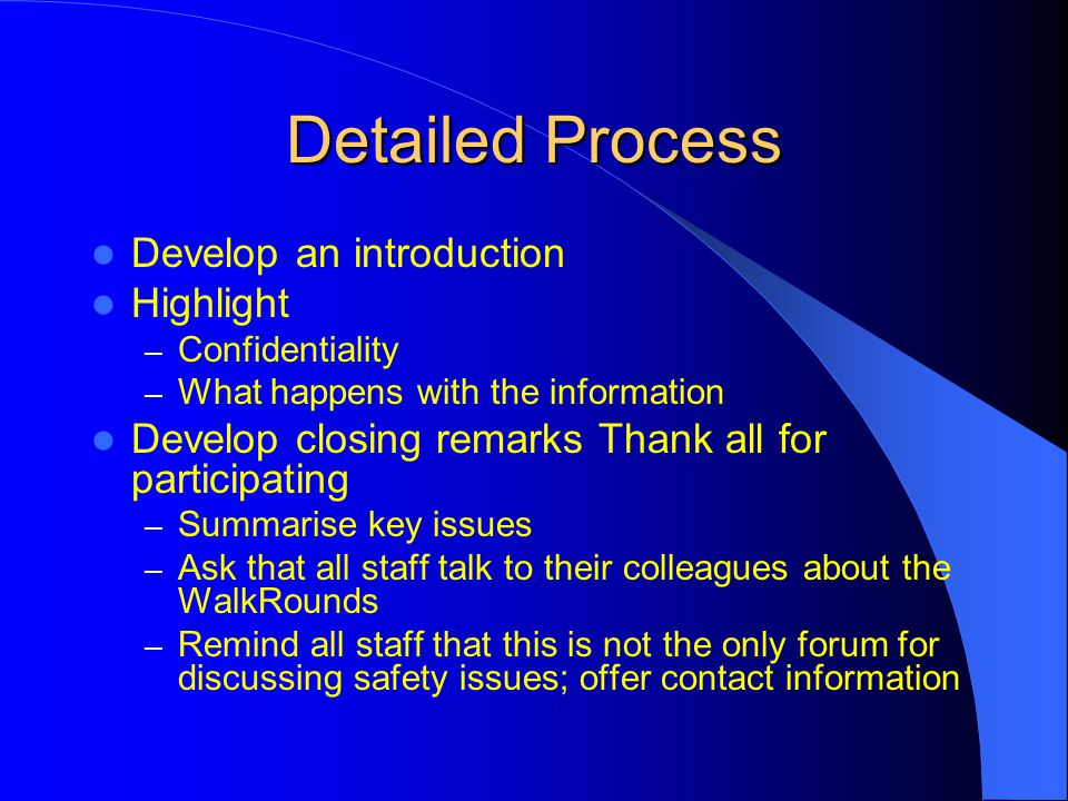 Detailed Process Develop an introduction Highlight
