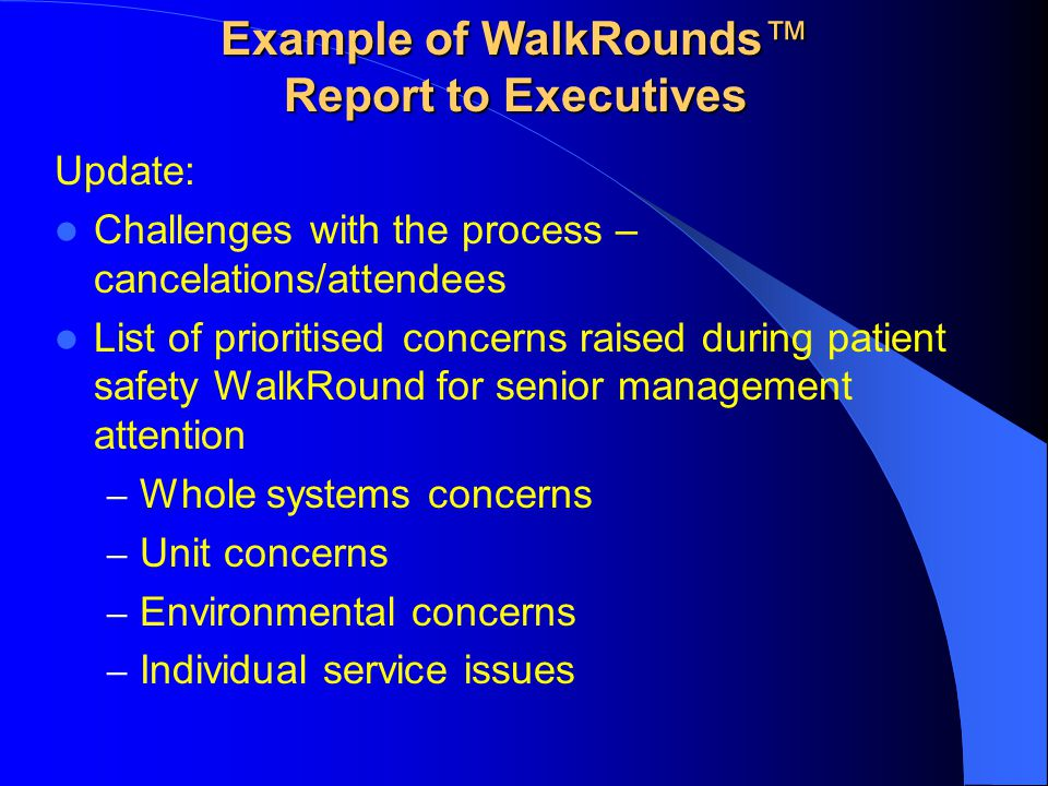 Example of WalkRounds™ Report to Executives
