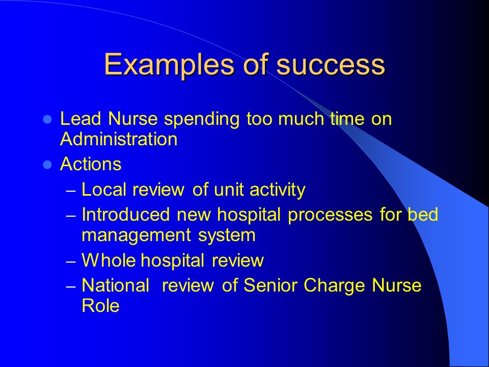 Examples of success Lead Nurse spending too much time on Administration. Actions. Local review of unit activity.
