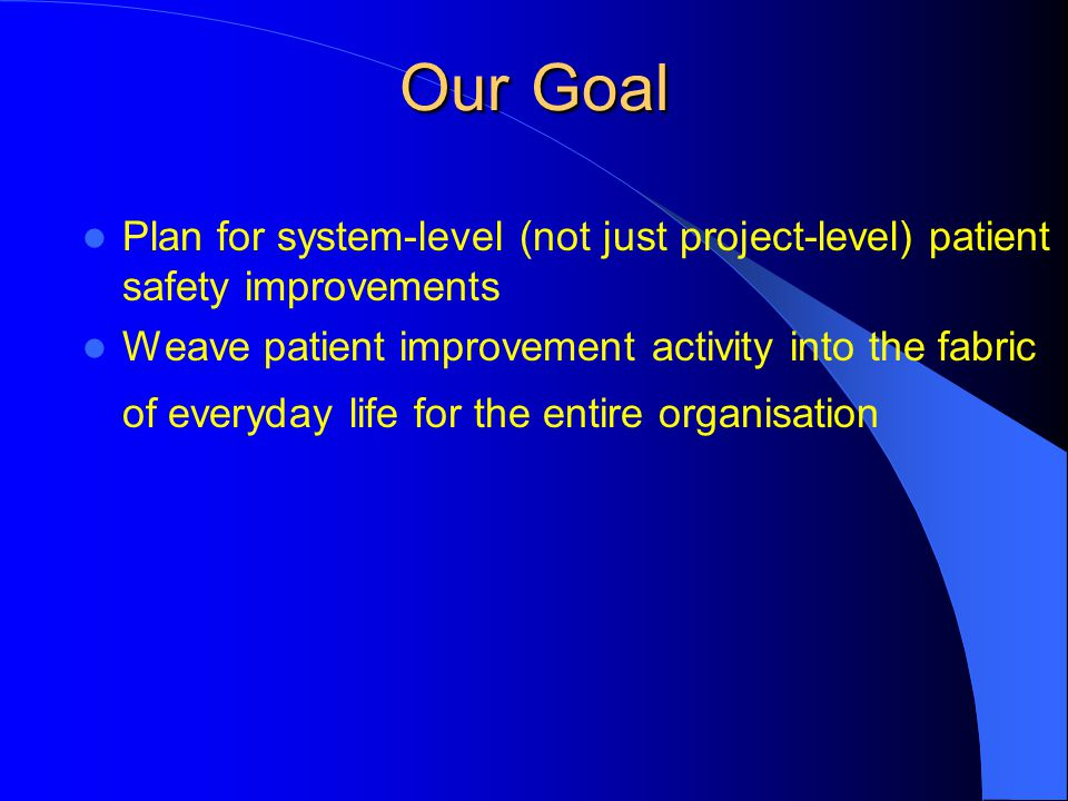 Our Goal Plan for system-level (not just project-level) patient safety improvements.