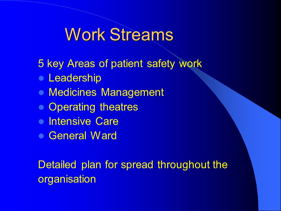 Work Streams 5 key Areas of patient safety work Leadership