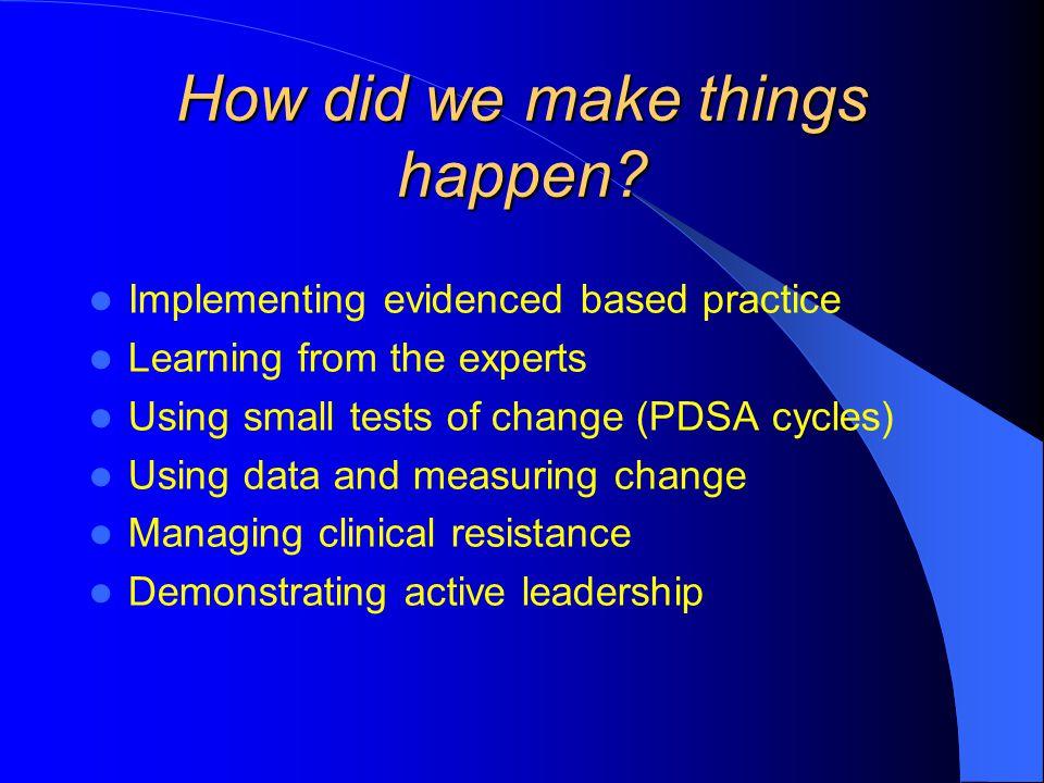 How did we make things happen